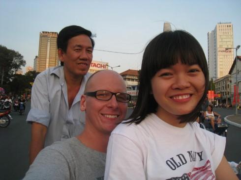 Jag och Von, en mysig soffsurfare i Saigon. Vi åker Cyclo. Se filmen med samma namn vettja!